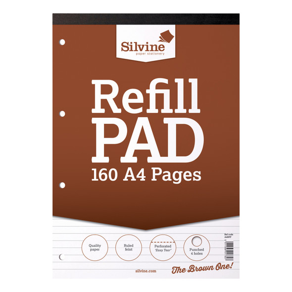 Refill Pad A4 Silvine Brown Single