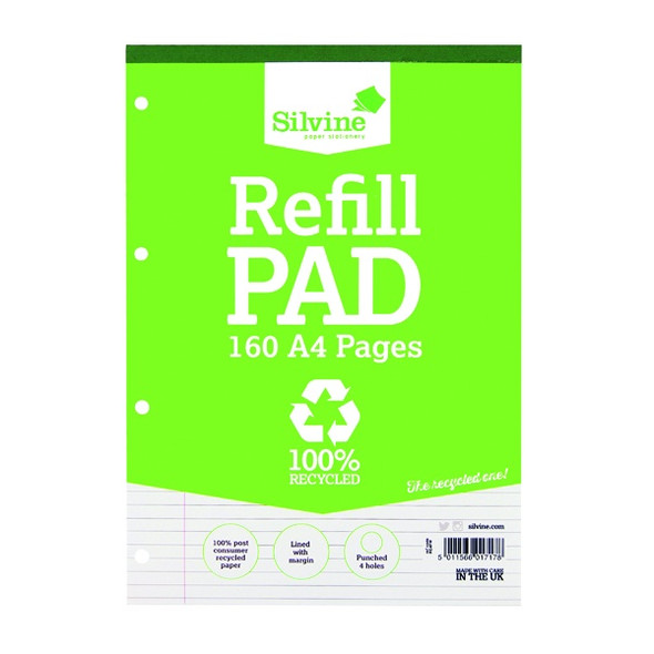 Refill Pad A4 Silvine Recycled Single