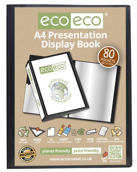 ECO-ECO A4 80 POCKET PRESENTATION DISPLAY BOOK