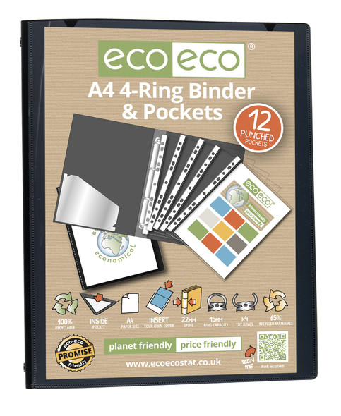 ECO-ECO A4 4-RING BINDER WITH POCKETS