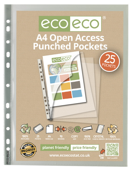 ECO-ECO A4 OPEN PUNCHED POCKETS (PACK OF 25)