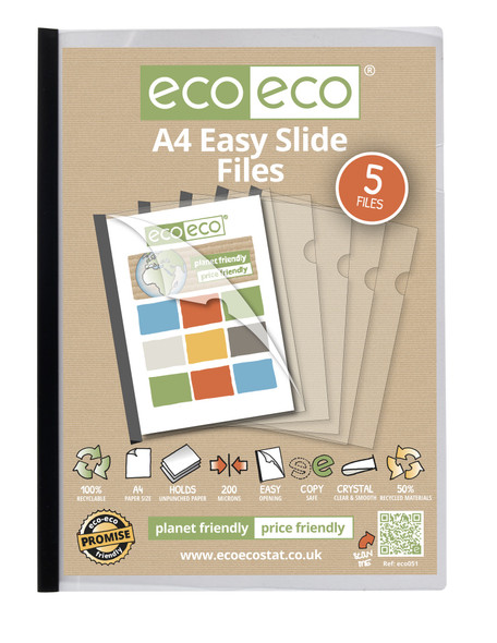 ECO-ECO A4 RECYCLED EASY SLIDE (PACK OF 5)