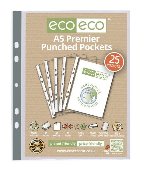 ECO-ECO A5 RECYCLED 90MICRON PUNCHED POCKET (PACK OF 25)