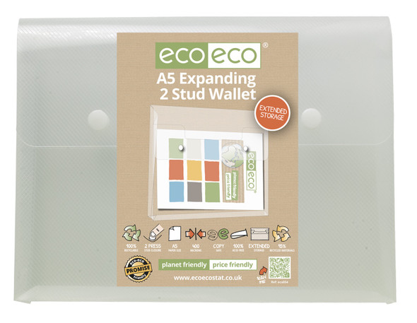ECO-ECO A5 RECYCLED EXPANDING 2 STUD WALLET (SINGLE)