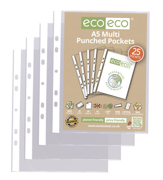 ECO-ECO A5 RECYCLED 45MICRON PUNCHED POCKETS (PACK OF 25)