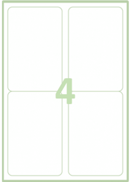 QCONNECT COPIER LABELS - 4 ON A SHEET - (PACK 100)