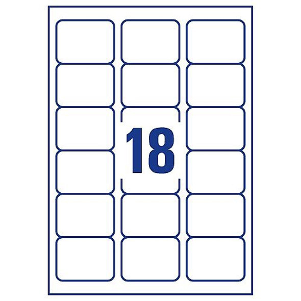 QCONNECT COPIER LABELS - 18 ON A SHEET - (PACK 100)