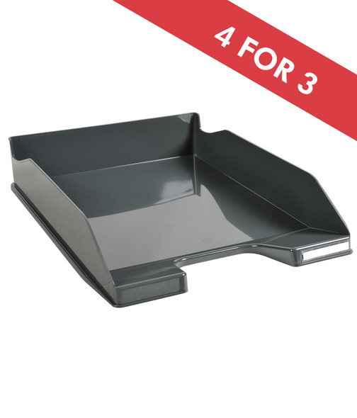 EXACOMPTA LETTER TRAY GLOSSY DARK GREY
