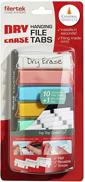 Cathedral Dry Erase Filing Tabs with Pen - Coloured (Pack of 10)