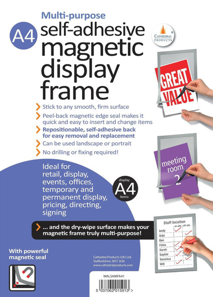 CATHEDRAL SELF-ADHESIVE MAGNETIC FRAME A4- SILVER