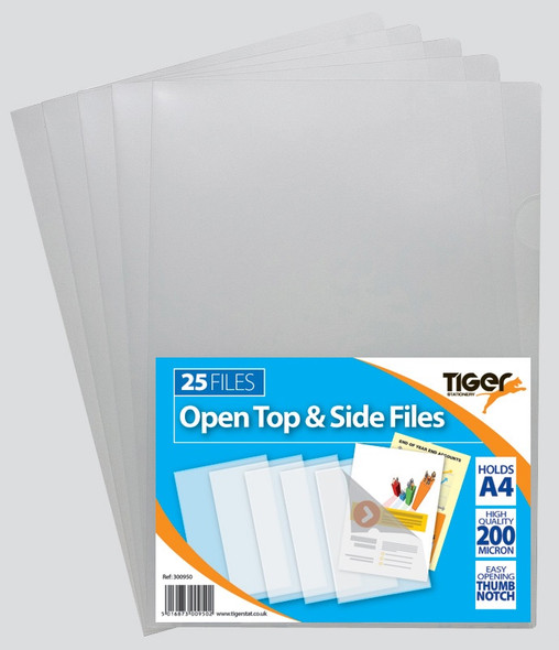 Tiger A4 Cut Flush Files - Clear - (Pack of 25)