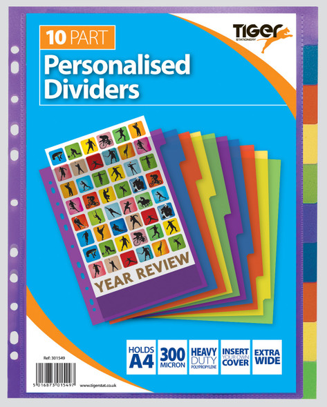 Tiger A4 10 Extra Wide Presentation Dividers - 1 Pack