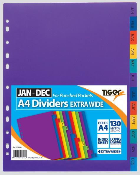 Tiger A4 Jan-Dec Extra Wide Dividers