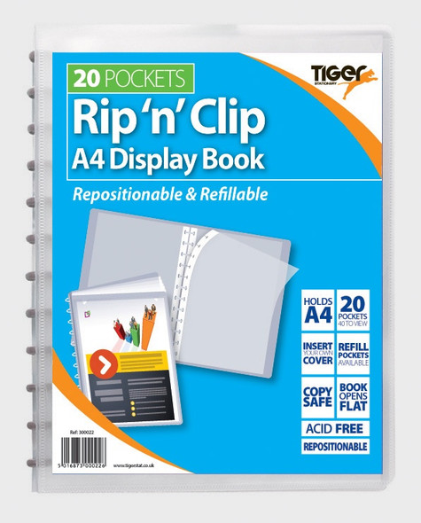 Tiger 'Rip n Clip' 20 Pocket Display Book