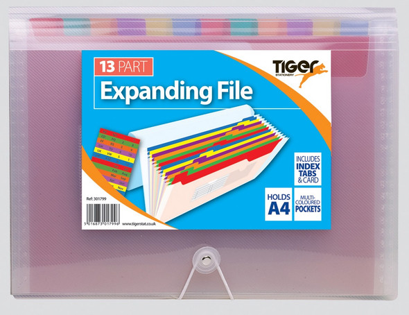 Tiger Rainbow A4 13 Pocket Expanding File