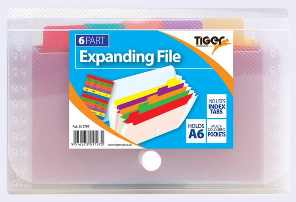 Tiger Rainbow A6 6 Pocket Expanding File