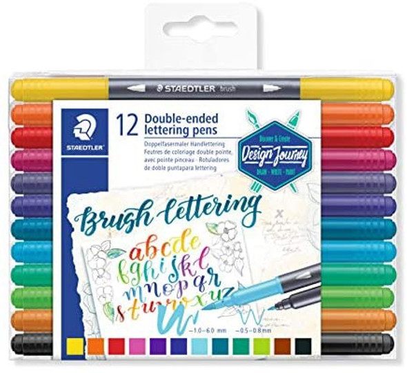 STAEDTLER 3004 DOUBLE-ENDED LETTERING PENS (PACK OF 12)