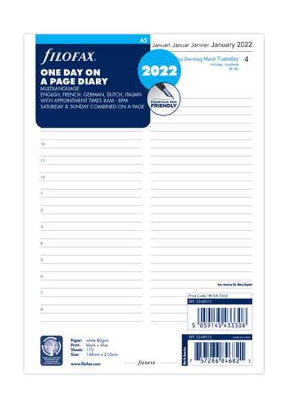 FILOFAX A5 REFILL DAY TO PAGE WITH APPOINTMENTS 2022