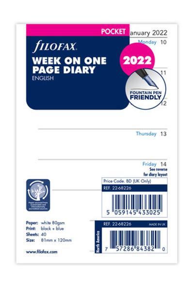 FILOFAX POCKET REFILL 2WTV ENGLISH 2022