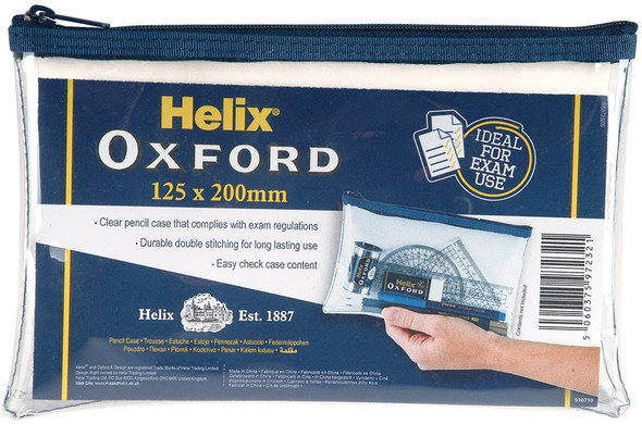 HELIX OXFORD CLEAR PENCIL CASE 200MM