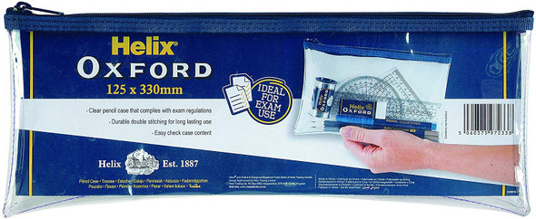 HELIX  OXFORD CLEAR PENCIL CASE 330MM