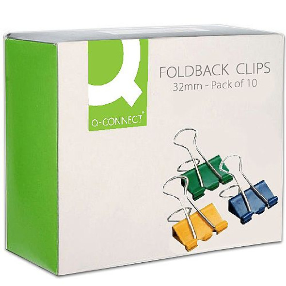 QCONNECT FOLDBACK CLIPS 32MM (PACK OF 10)