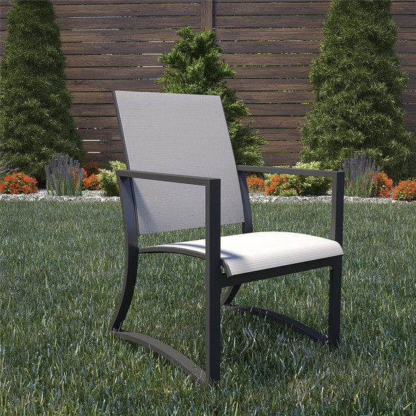 Cosco Capitol Hill 6 Piece Patio Dining Chairs, Steel, Light Gray Sling