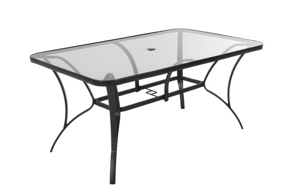 Cosco Paloma Steel Dining Table, Dark Gray Steel Frame, Tempered Glass Table Top