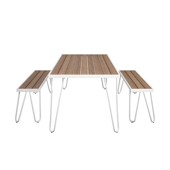 Novogratz Paulette Table And Bench Set White