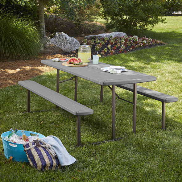 Cosco Living Intellifit 6 ft. Folding Picnic Table, Dark Gray Wood Grain with Gray Legs