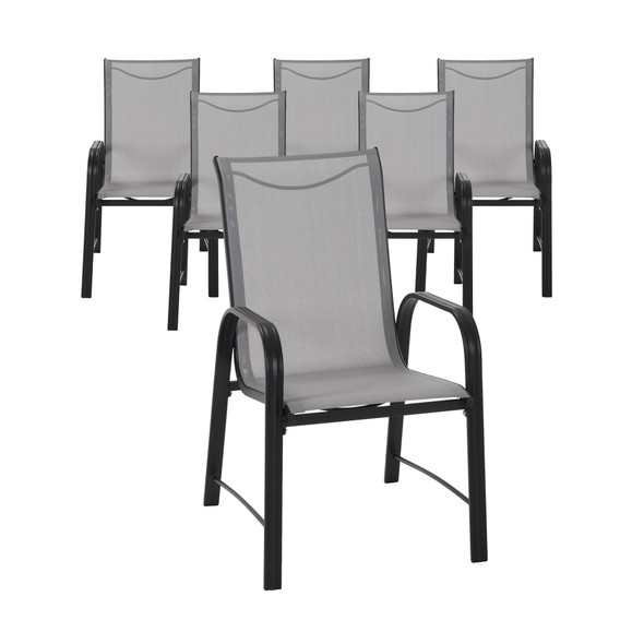 Cosco Paloma Steel 6 Piece Patio Chairs, Light Gray Sling, Dark Gray Steel Frame