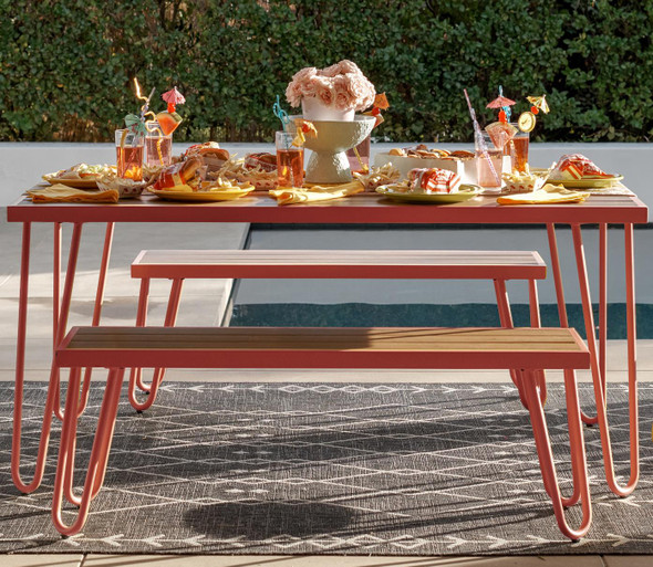 Novogratz Paulette Table And Bench Set Red