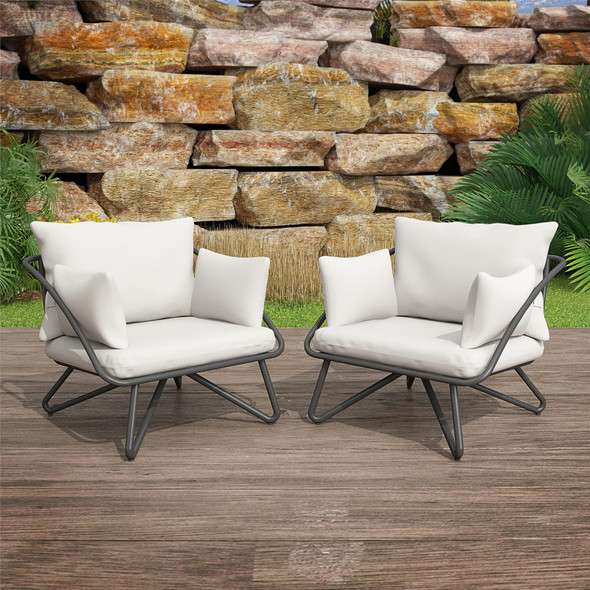 Novogratz Teddi Lounge Chairs, 2 Piece Set, Charcoal