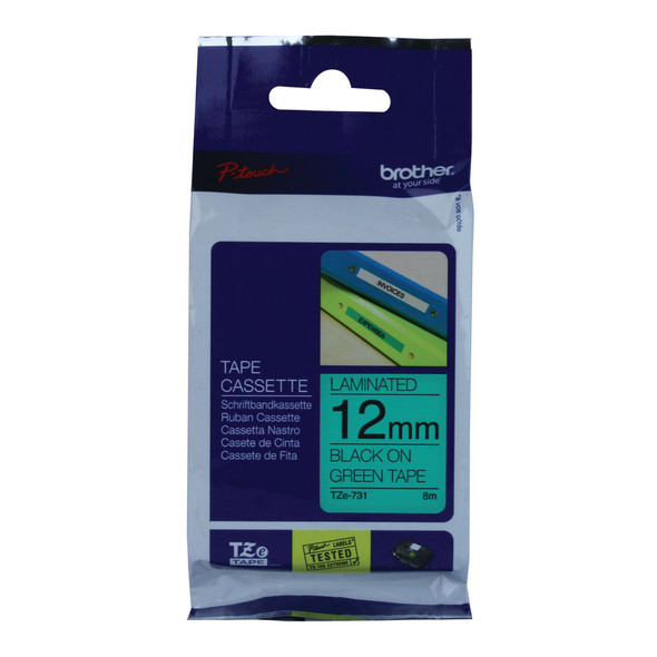 BROTHER P-TOUCH 12MM BLACK ON GREEN TZE731