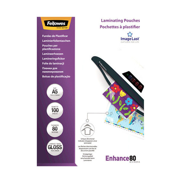 Fellowes A5 Glossy 2x80 Micron Laminating Pouch (Pack 100)