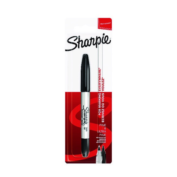 SHARPIE PERMANENT MARKERS TWIN TIP BLISTER BLACK