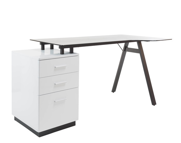 CLEVELAND 4 WHITE AND GREY GLASS DESK