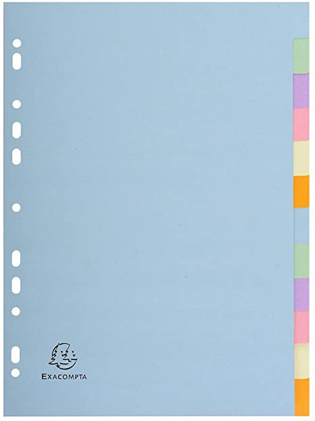 Exacompta 12 Part Pastel Coloured Recycled Plain Dividers
