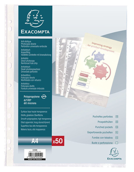 EXACOMPTA PUNCHED POCKETS x50 A4 6/100 - CRYSTAL