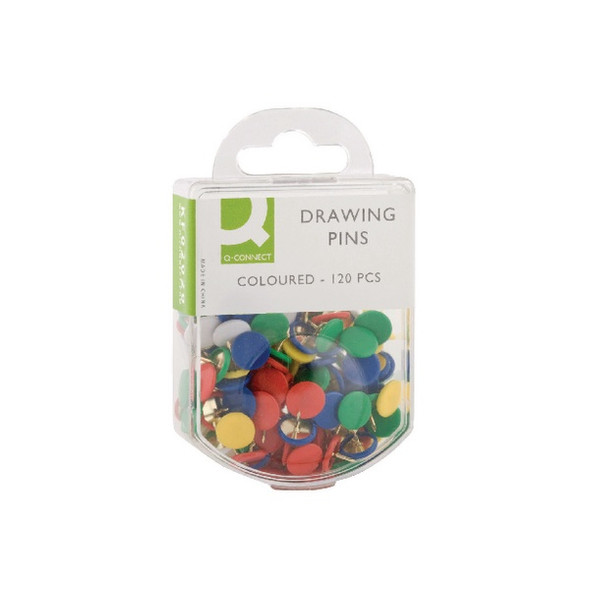 Q CONNECT DRAWING PINS COLOURED PACK 120