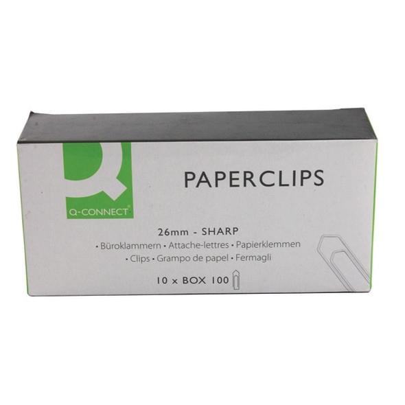 Q CONNECT PAPERCLIPS 26MM NO TEAR PACK 100