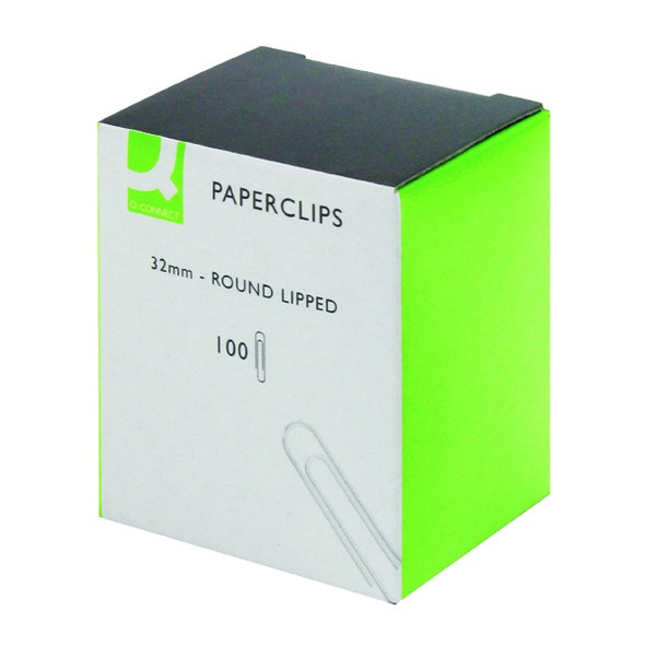 Q CONNECT PAPERCLIPS 32MM LIPPED PACK 100