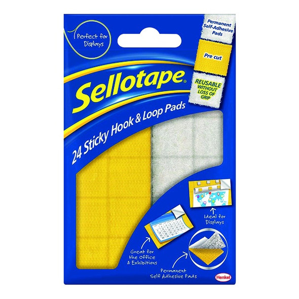 SELLOTAPE STICKY HOOK AND LOOP PADS (PACK OF 24)