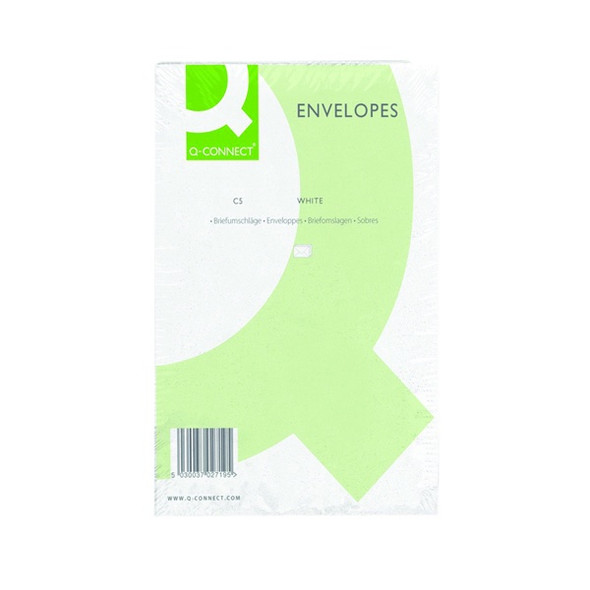 Q-CONNECT C5 ENVELOPES POCKET PEEL AND SEAL 100GSM WHITE (PACK OF 500)