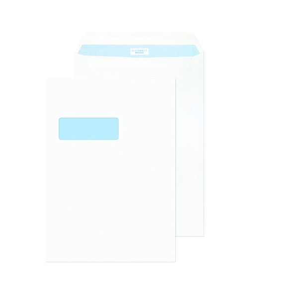 Q-CONNECT C4 ENVELOPES WINDOW PEEL AND SEAL 100GSM WHITE (PACK OF 250)