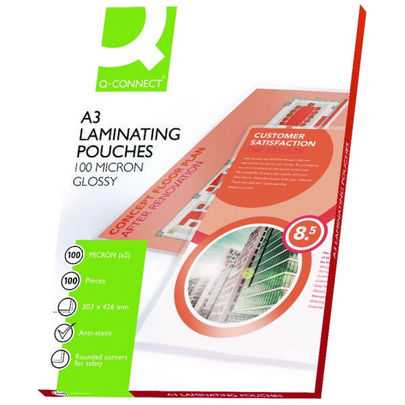 Q-CONNECT A3 LAMINATING POUCH 200 MICRON (PACK OF 100)