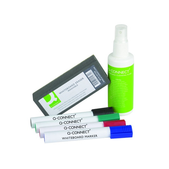 Q-CONNECT ECONOMY WHITEBOARD STARTER KIT (INCLUDES PENS, CLEANING FLUID AND WIPER)