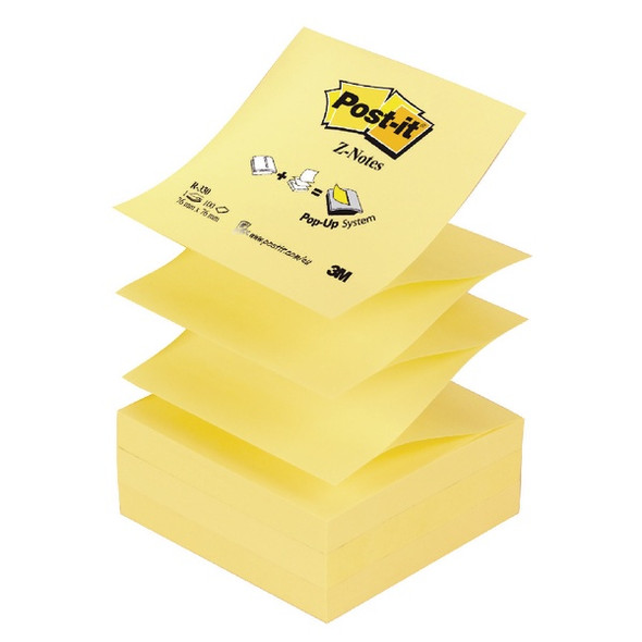 POST-IT Z-NOTES 76 X 76MM CANARY YELLOW (PACK OF 12)