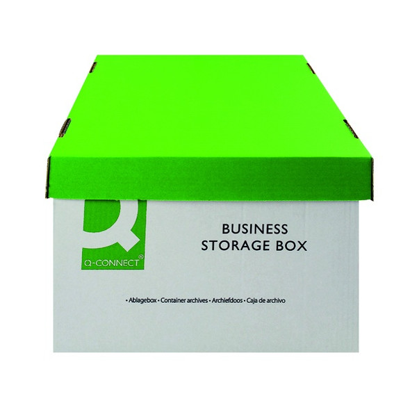 Q-CONNECT BUSINESS STORAGE BOX 335X400X250MM GREEN AND WHITE (PACK OF 10)