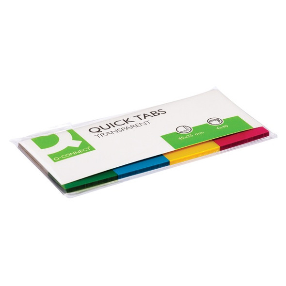 Q-CONNECT QUICK TABS 25 X 45MM TRANSPARENT ASSORTED (PACK OF 200)